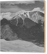 The Great Colorado Sand Dunes  125 Black And White Wood Print