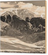 The Great Colorado Sand Dunes In Sepia Wood Print