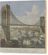 The Great East River Suspension Bridge Wood Print