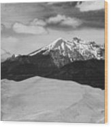 The Great Sand Dunes And Sangre De Cristo Mountains - Bw Wood Print