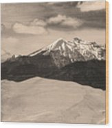 The Great Sand Dunes And Sangre De Cristo Mountains - Sepia Wood Print