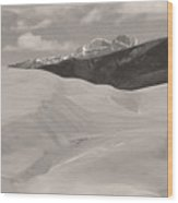 The Great Sand Dunes  Bw Sepia Wood Print