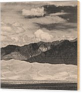 The Great Sand Dunes Panorama 2 Sepia Wood Print