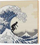 The Great Surfer Off Kanagawa Wood Print