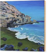 The Green Beach The Big Island Hawaii Wood Print