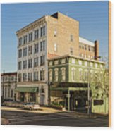 The Green Building On The Corner Wood Print