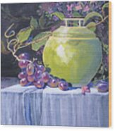 The Green Pot And Grapes Wood Print