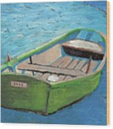 The Green Rowboat Wood Print