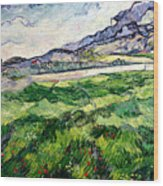 The Green Wheatfield Behind The Asylum Wood Print by Vincent van Gogh