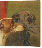 The Greyhounds Charley And Jimmy In An Interior Wood Print by John Frederick Herring Snr