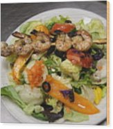 The Grilled Shrimp Salad Wood Print