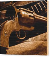 The Gun That Won The West - Sepia Wood Print