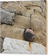 The Hanging Jar - Rough Weathered Stones Rust And Ceramics - A Vertical View Wood Print