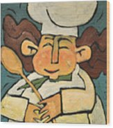 The Happy Chef Wood Print