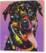 The Happy Rottie Wood Print by Dean Russo
