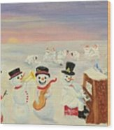 The Happy Snowman Band Wood Print