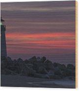 The Harbor Light At Dawn Wood Print