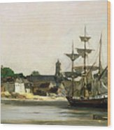 The Harbour At Honfleur Wood Print by Karl Pierre Daubigny