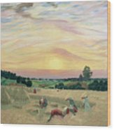 The Harvest Wood Print by Boris Mikhailovich Kustodiev