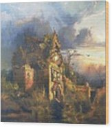 The Haunted House Wood Print by Thomas Moran