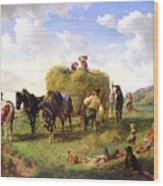 The Hay Harvest Wood Print