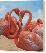 The Heart Of The Flamingos Wood Print