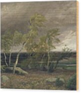 The Heath In A Storm Wood Print