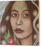 The High Priestess Wood Print by Tammy Mae Moon