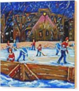 The Hockey Rink Wood Print