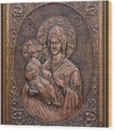 The Holly Mother With Jesus Christ Wood Print by Netka Dimoska
