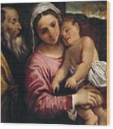 The Holy Family , Annibale Carracci Wood Print