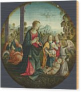 The Holy Family With Angels Wood Print