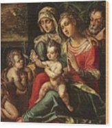 The Holy Family With Saint Anne And Saint John Wood Print