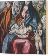The Holy Family With Saint Anne And The Infant John The Baptist Wood Print