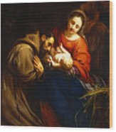 The Holy Family With Saint Francis Wood Print by Jacob van Oost