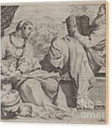 The Holy Family With Saint John The Baptist Wood Print