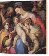 The Holy Family With St Catherine Of Alexandria, St Margaret Of Antioch And St Francis Of Assisi  Wood Print