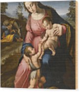 The Holy Family With The Infant Saint John The Baptist Wood Print