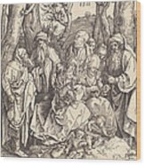 The Holy Family With Two Music-making Angels Wood Print