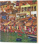 The Holy Ganges - Paint Wood Print