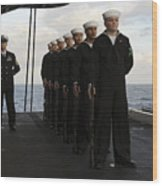 The Honor Guard Stands At Parade Rest Wood Print by Stocktrek Images