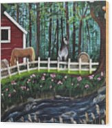 The Horse Farm Wood Print