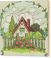 The House At The End Of Storybook Lane Wood Print