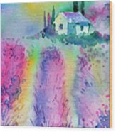 The House By The Lavender Field Wood Print