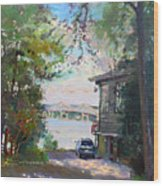 The House By The River Wood Print