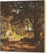 The House In The Woods Wood Print by Albert Bierstadt