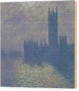 The Houses Of Parliament Stormy Sky Wood Print
