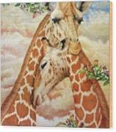 The Hug - Giraffes Wood Print