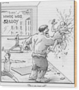 The Hulk Crushes A Man Against A Wall In A Yoga Wood Print