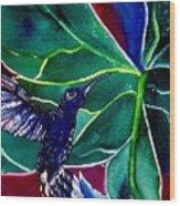 The Hummingbird And The Trillium Wood Print